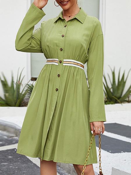 Milanoo Vestido de verano Pleatded las mujeres camisa de vestir de manga larga verde