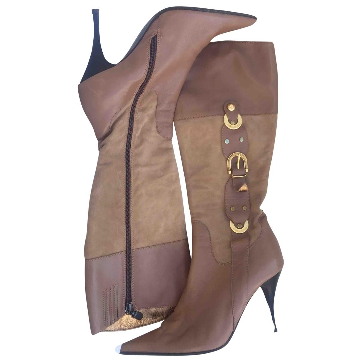 - Bottes   pour femme en cuir - beige