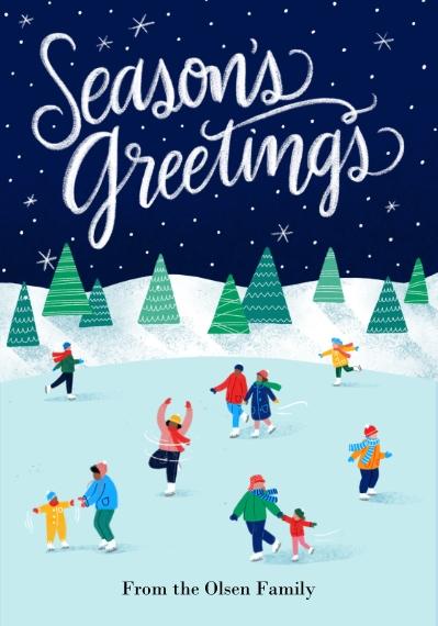 Holiday Photo Cards 3.5x5 Flat Notecard, Card & Stationery -Skating Season