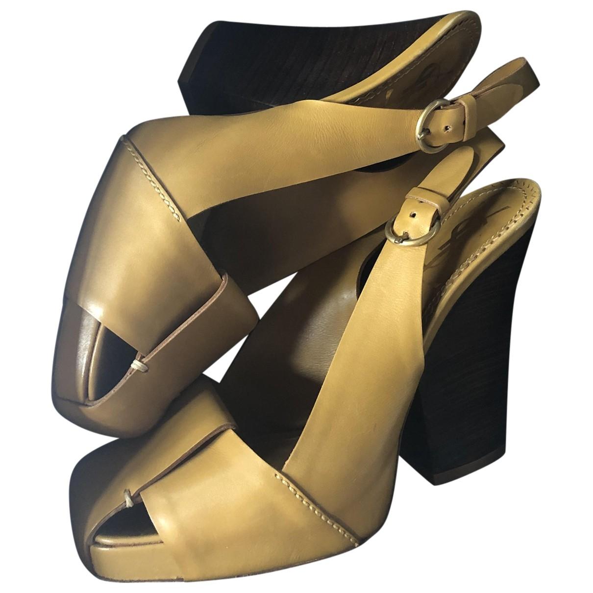 Yves Saint Laurent \N Khaki Leather Heels for Women 6 UK