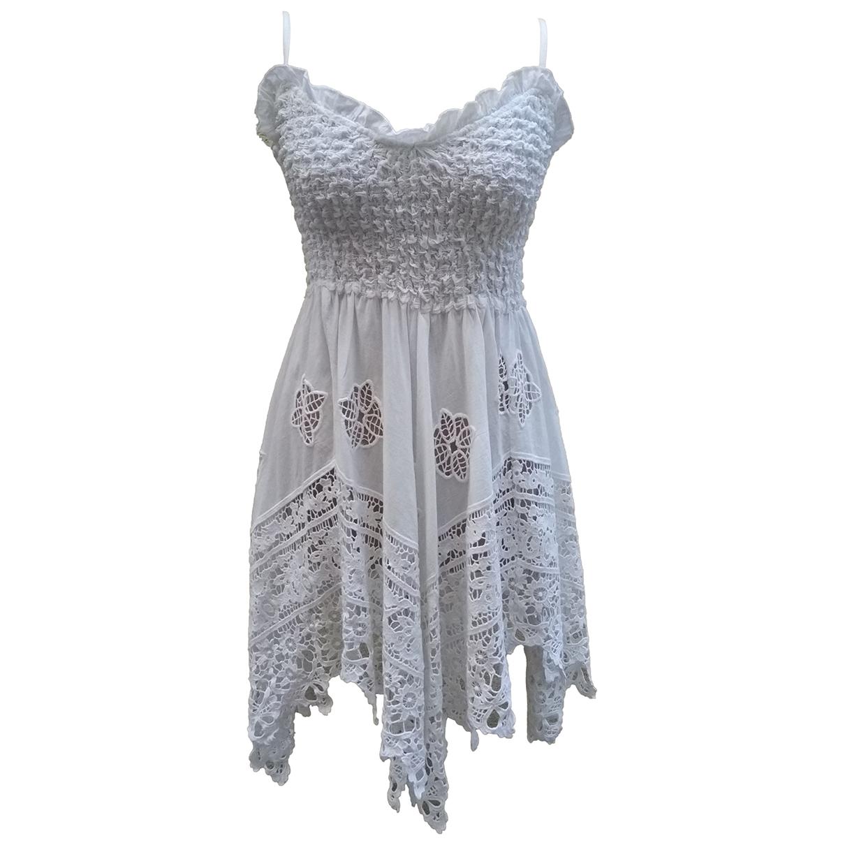 Non Signe / Unsigned \N Kleid in  Weiss Baumwolle - Elasthan