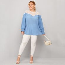 Plus Contrast Lace Shirred Cuff Blouse