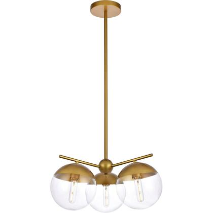 LD6133BR Eclipse 3 Light 21 inch Brass Pendant Ceiling Light With Clear White