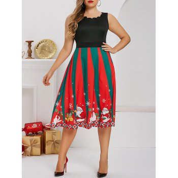 Plus Size Christmas Santa Snowman Print Dress