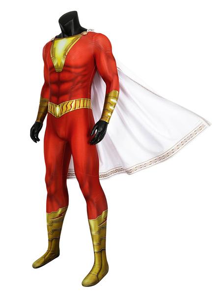 Milanoo DC Comics Shazam Billy Batson Cosplay Costume Zentai