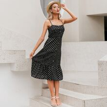 Button Front Polka-dot Print Cami Dress