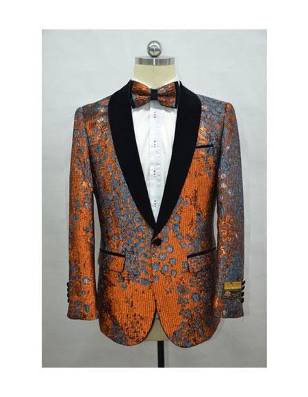 Orange Mens Fashion Blazer + Free Matching Bowtie