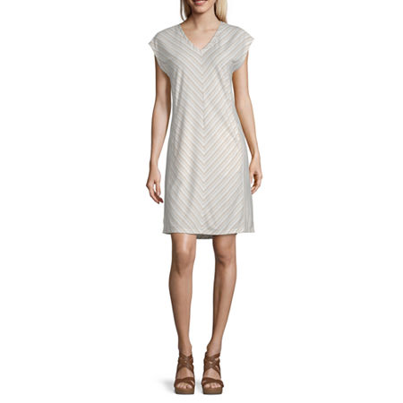 Liz Claiborne Short Sleeve Striped Shift Dress, Large , Beige