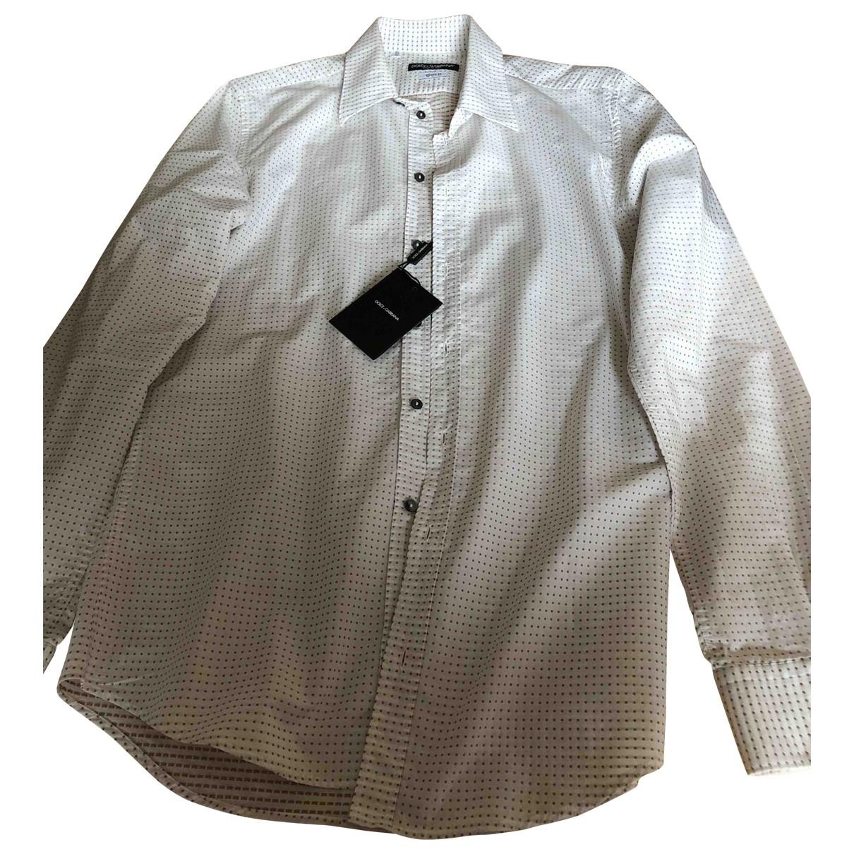 Dolce & Gabbana \N White Cotton Shirts for Men 40 EU (tour de cou / collar)