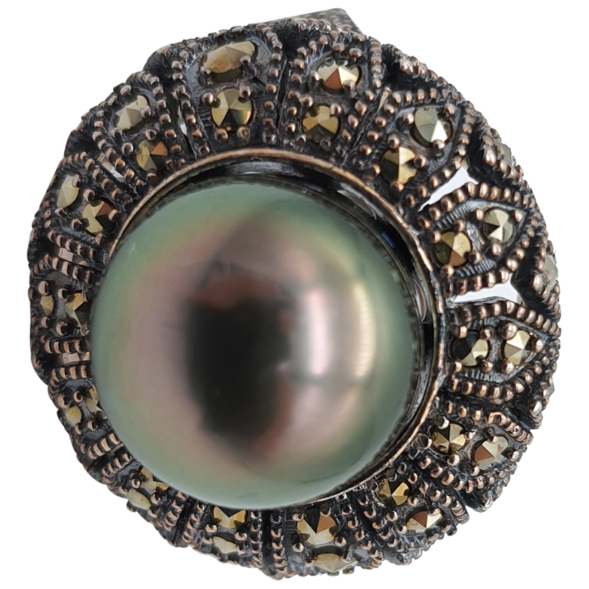 Non Signe / Unsigned Art Deco Ring in  Grau Silber
