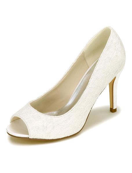 Milanoo White Wedding Shoes Lace Peep High Heel Elegant Bridal Shoes