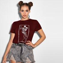 T-Shirt mit Skelett Muster und kurzen Ärmeln