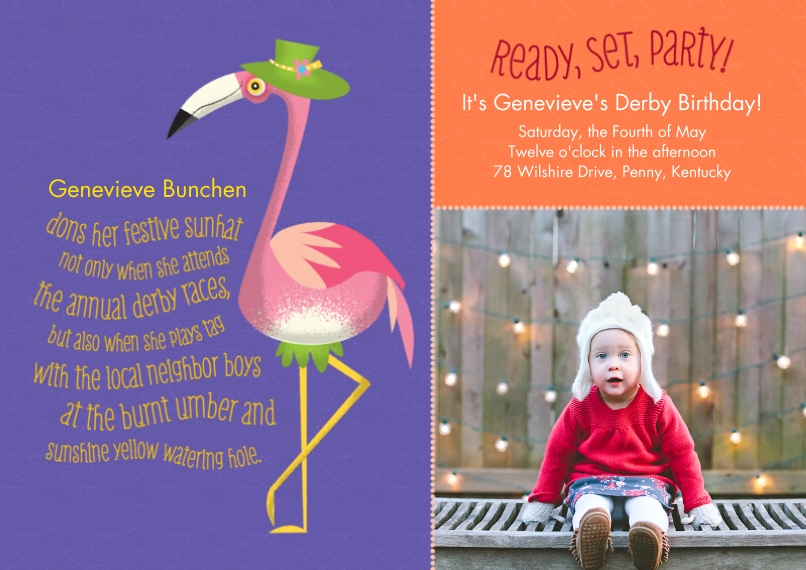 Kids Birthday Party Invites Flat Matte Photo Paper Cards with Envelopes, 5x7, Card & Stationery -Animal Personality Birthday Flamingo