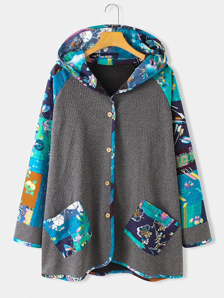 Floral Print Pockets Ethnic Hooded Plus Size Coat