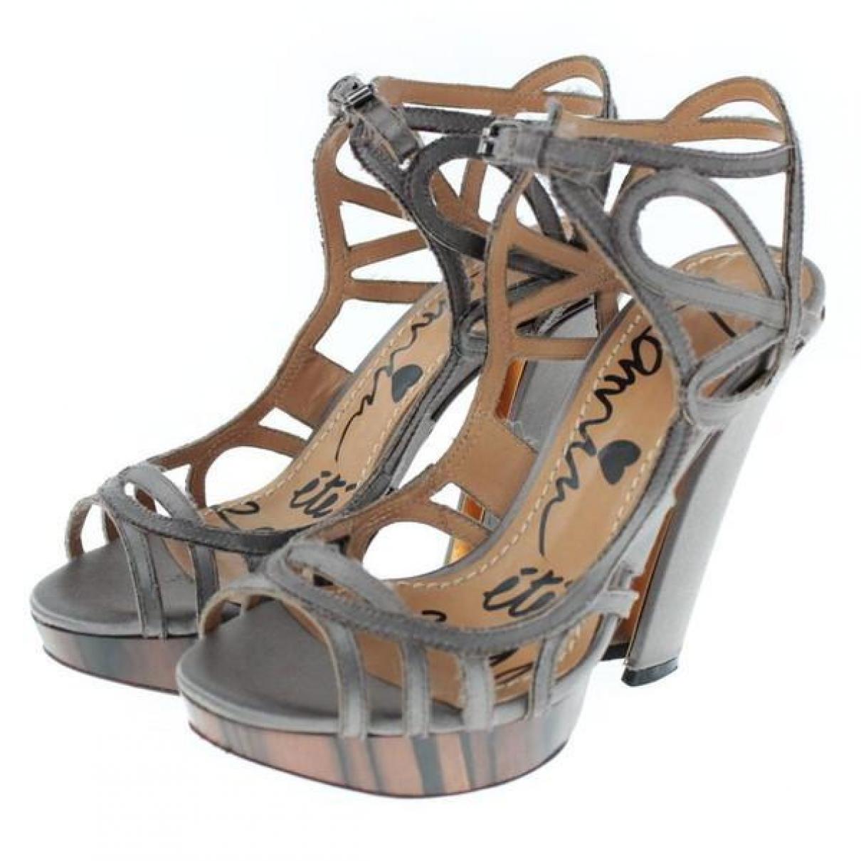 Lanvin - Sandales   pour femme en cuir - gris