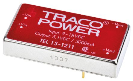 TRACOPOWER TEL 15 15W Isolated DC-DC Converter Through Hole, Voltage in 9 → 18 V dc, Voltage out 5V dc