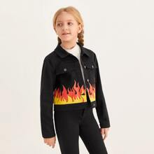 Jacke mit Knopfen vorn und Feuer Muster
