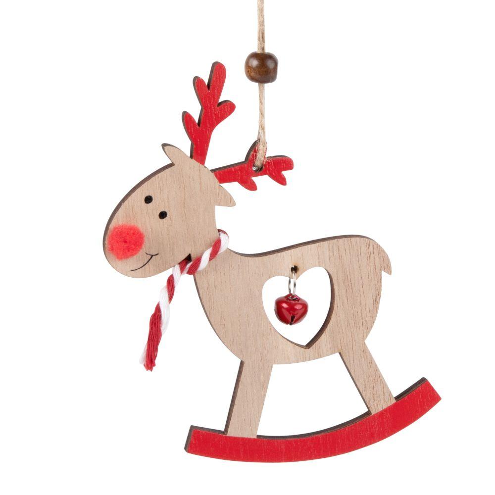 Weihnachtliche Haengedeko, Schaukel-Rentier und Glockchen