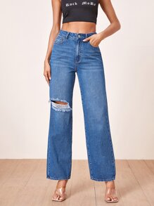 Ripped Detail Wide Leg Jeans