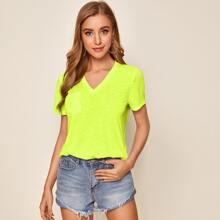 Neon Lime T-Shirt mit Taschen Flicken
