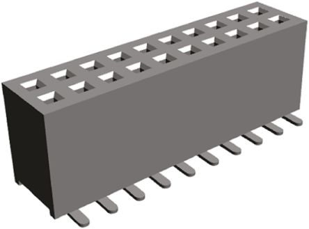HARWIN , M50-31 1.27mm Pitch 40 Way 2 Row Straight PCB Socket, Surface Mount, Solder Termination