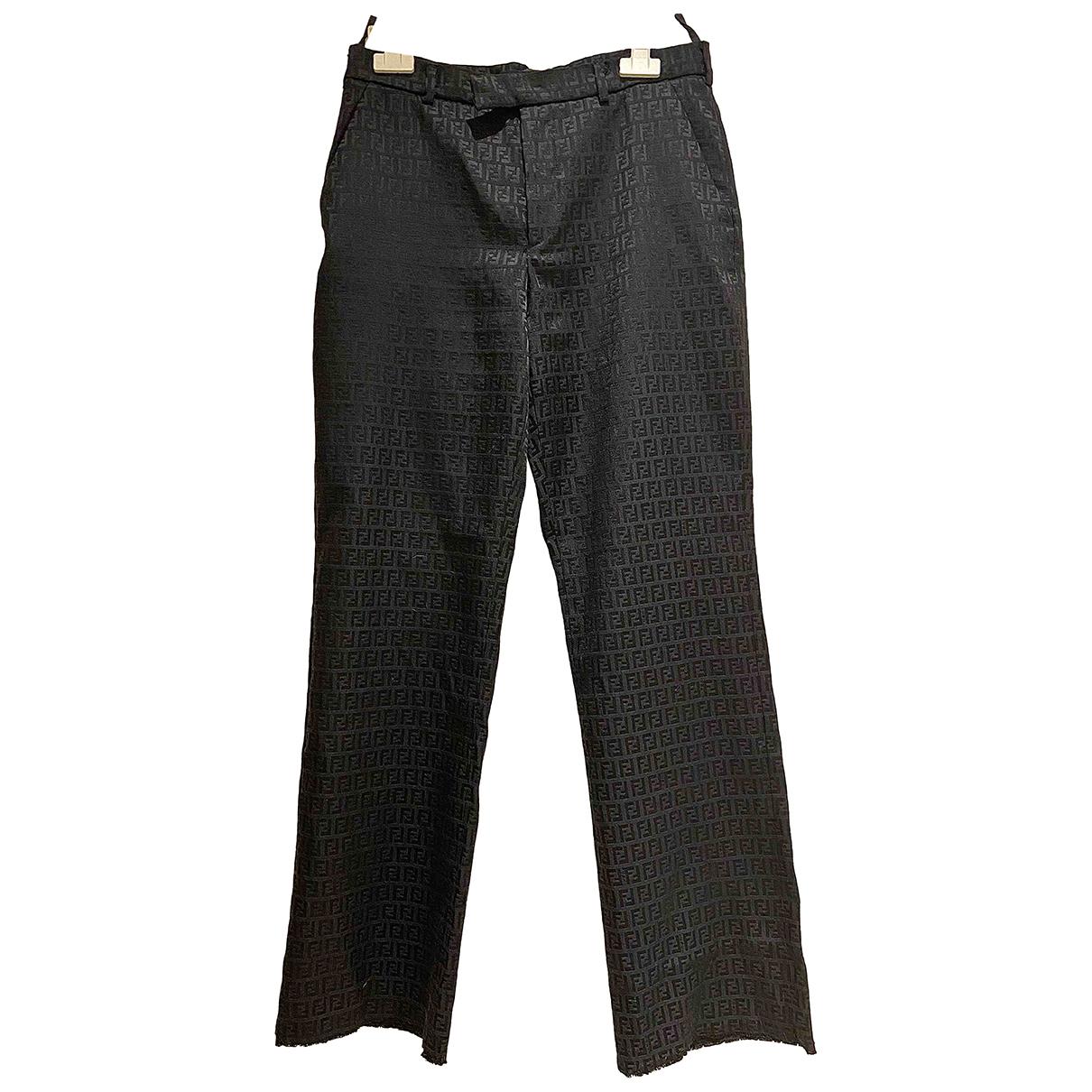 Fendi N Black Trousers for Women 46 IT