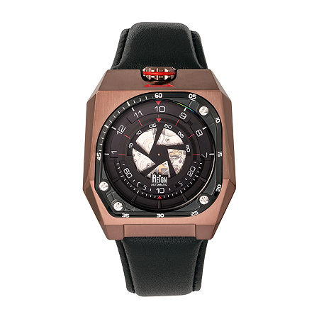 Reign Mens Automatic Black Leather Strap Watch-Reirn5104, One Size , No Color Family