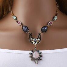 Collar vintage con diamante de imitacion