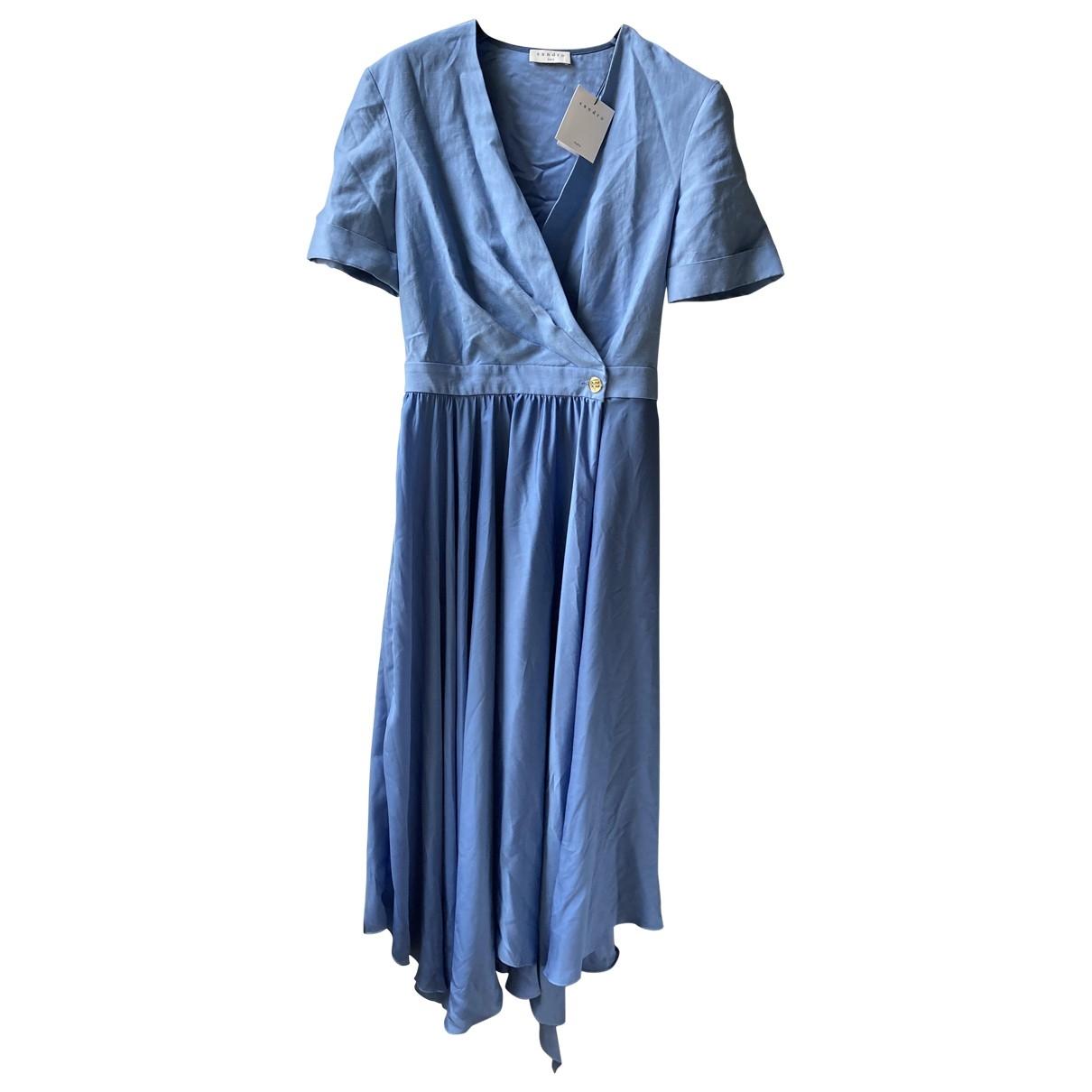 Sandro Spring Summer 2020 Kleid in  Blau Leinen