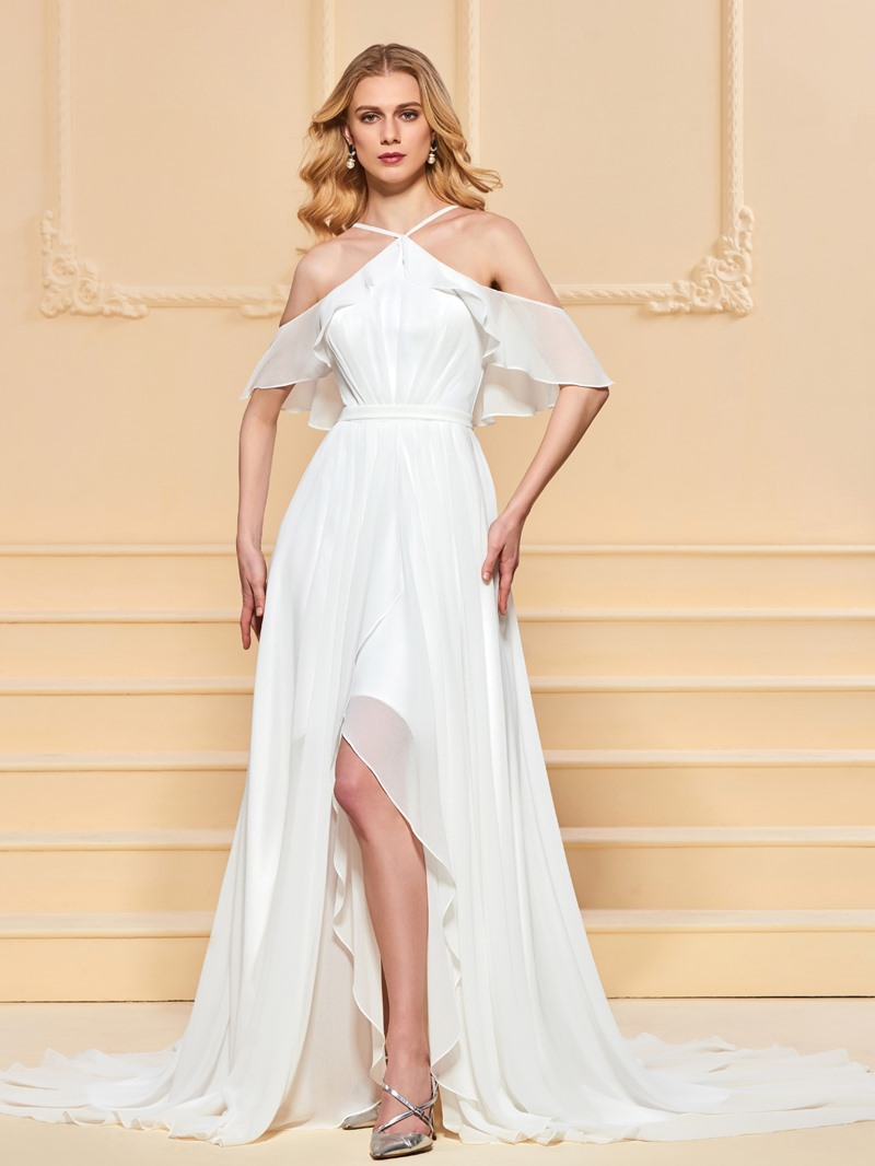 Ericdress A Line Halter Ruffles Backless Prom Dress