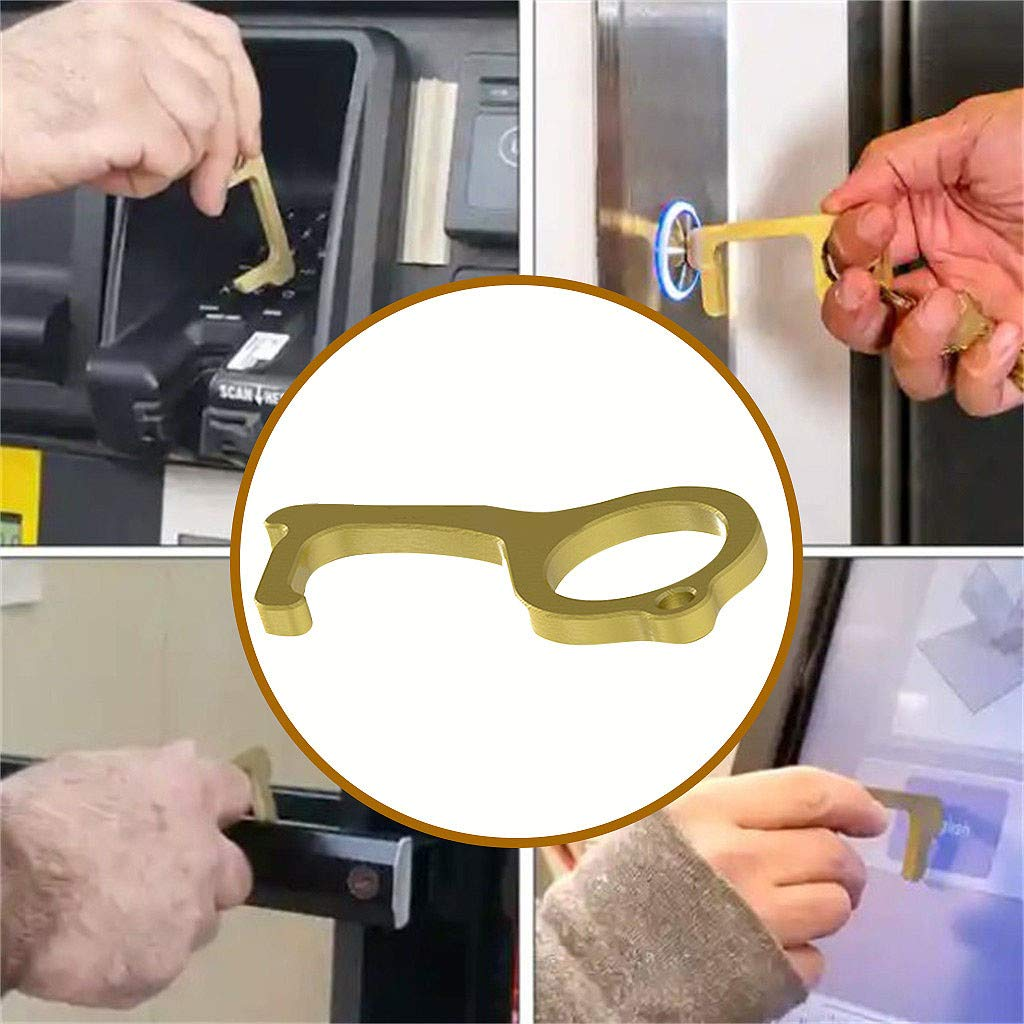 20PCS Hygiene Hand Antimicrobial Brass EDC Door Opener Gold