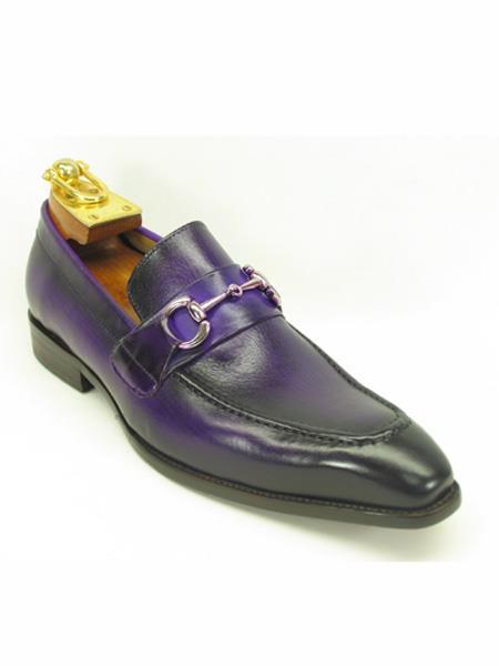 Mens Fashionable Buckle Loafer Purple Dress Shoe