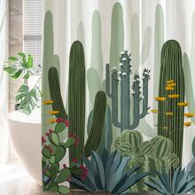 Cactus Print Shower Curtain With 12hooks