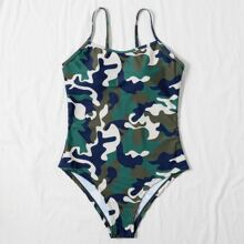 Einteiliger Badeanzug mit Camo Muster