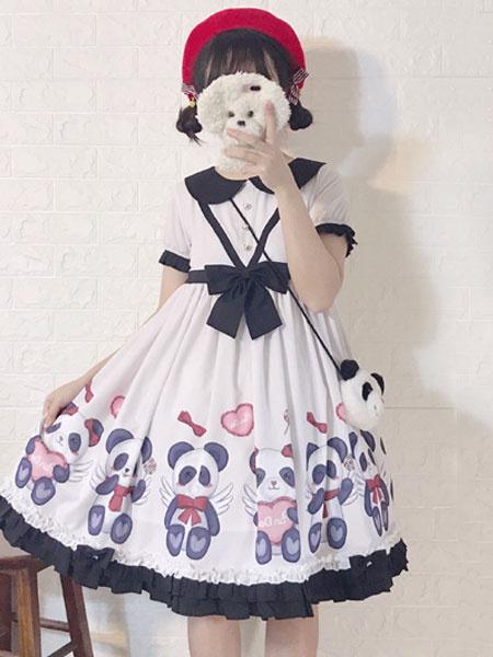 Milanoo Sweet Lolita OP Dress Panda Print Bow Ruffle Cotton Slub White Lolita One Piece Dress