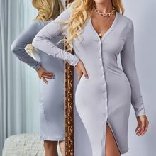 Button Front V-neck Bodycon Dress