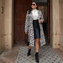 Plus Lapel Collar Leopard Print Coat