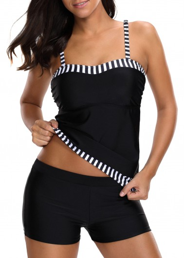Monochrome Stripe Spaghetti Strap Tankini Top and Shorts - XS