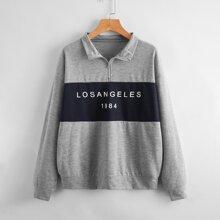 Letter Graphic Half-Zip Sweatshirt