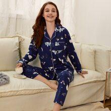 Schlafanzug Set mit Karikatur Grafik und Kontrast Bindung