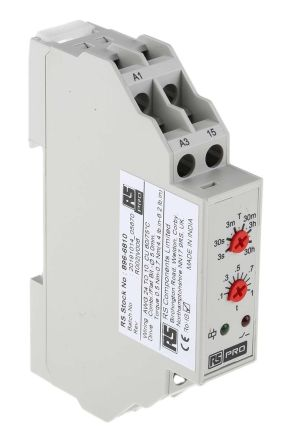RS PRO SPDT Timer Relay - 0.3 s → 30 h, 1 Contacts, ON Delay, DIN Rail