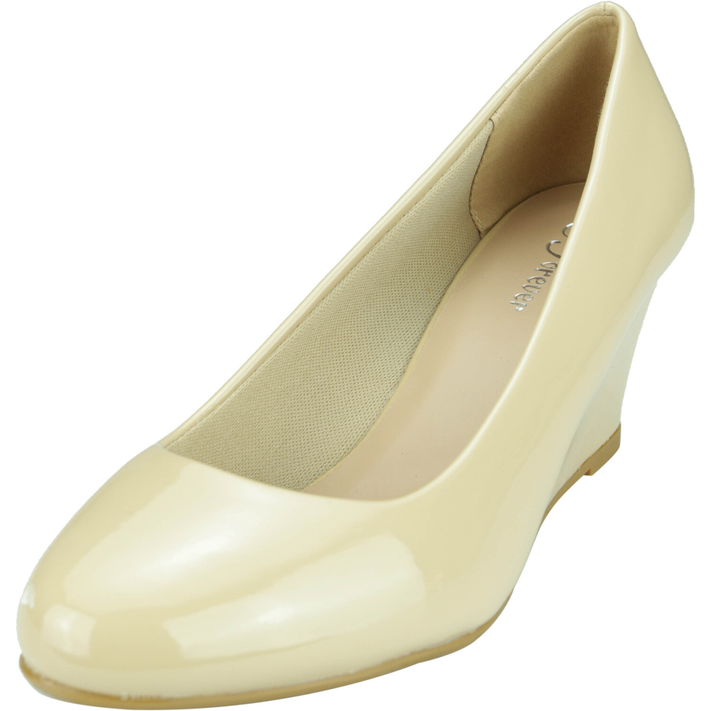 Forever Women's Doris 22 Patent Beige Ankle-High Pump - 10M