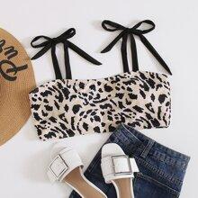 Bikini Top mit Leopard Muster und Band auf Schulter