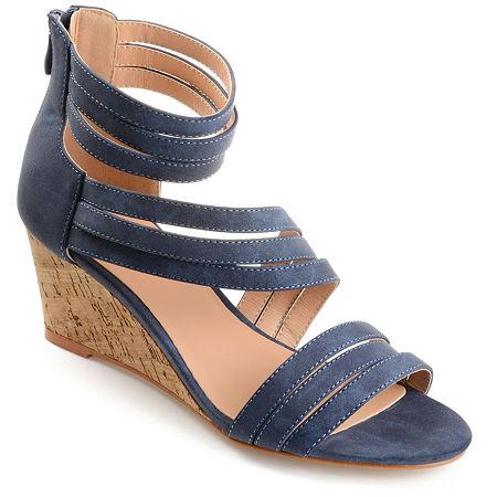 Journee Collection Womens Loki Zip Open Toe Wedge Heel Pumps, 7 1/2 Medium, Blue