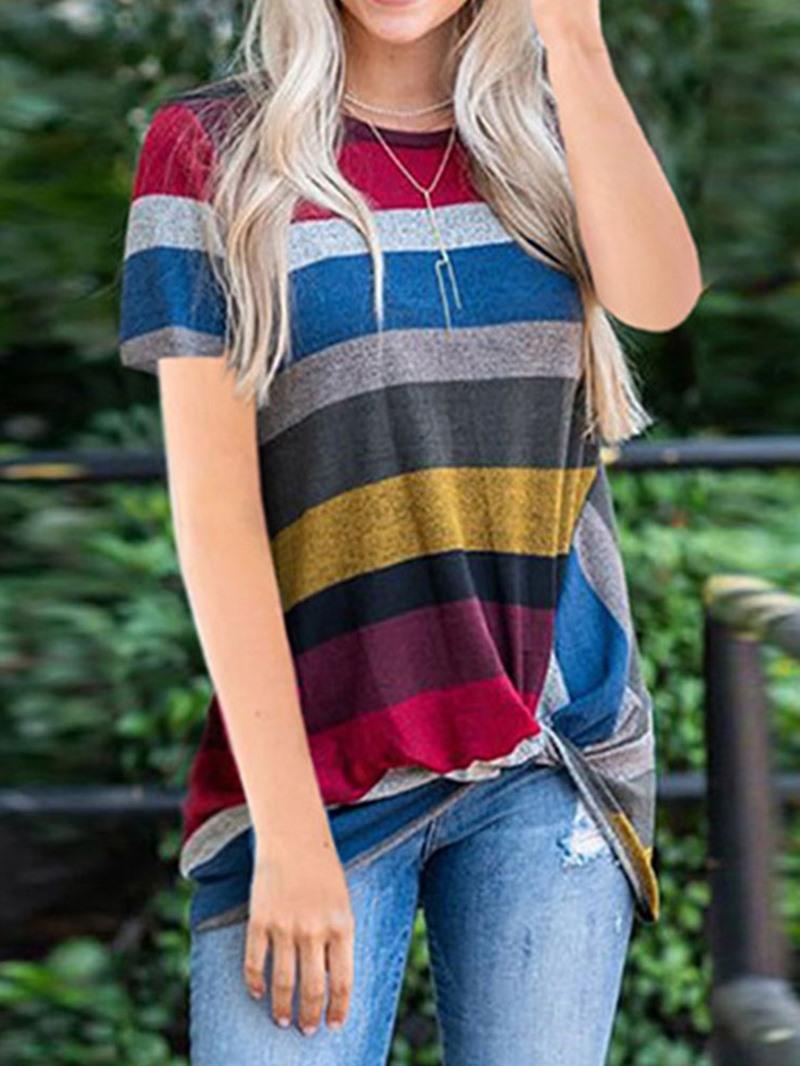 Ericdress Stripe Round Neck Casual T-Shirt