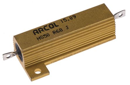 Arcol HS50 Series Aluminium Housed Axial Wire Wound Panel Mount Resistor, 680mΩ ±5% 50W