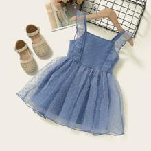 Toddler Girls Swiss Dot Ruffle Trim Mesh Dress