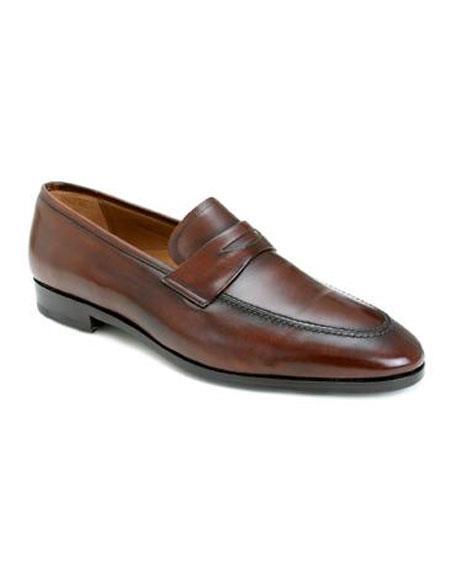 Mens Cognac Italian Calf Slip-on Split Toe Penny Loafer Leather Shoes