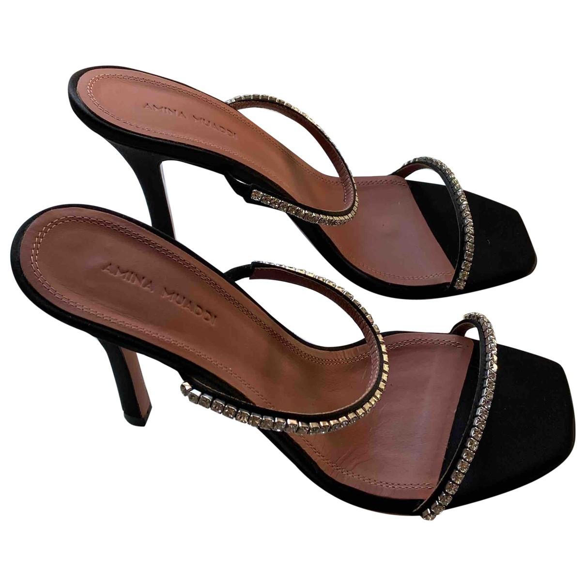 Amina Muaddi \N Black Cloth Sandals for Women 38.5 EU