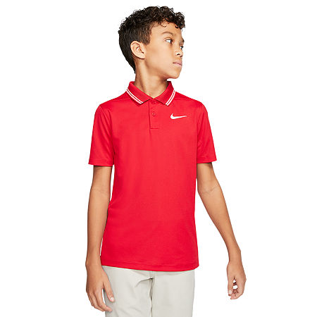 Nike Big Boys Short Sleeve Moisture Wicking Polo Shirt, Large , Pink
